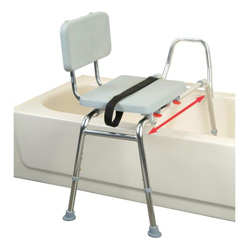 Sliding transfer bench with padded seat and back Padded bench seat