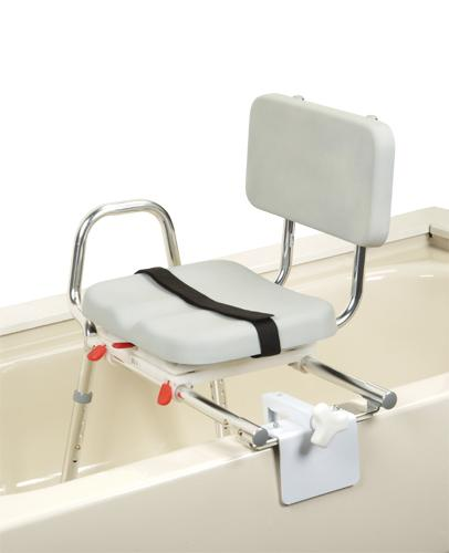 Extra Short Sliding Tub-mount Transfer Bench with Padded Swivel Seat & Back - Discontinued