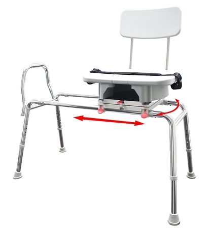 Snap-N-Save Sliding Transfer Bench with Replaceable Cut Out Swivel Seat