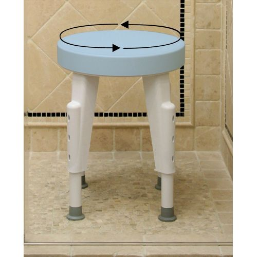Rotating Round Shower Stool Height Adjustable Swivel Seat