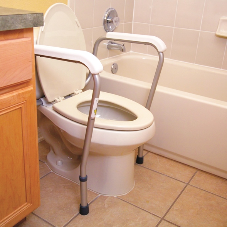 essential bath safety toilet frame  adjustable support