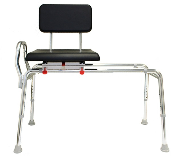 Sliding Transfer Bench With Padded Swivel Seat And Back Tub Bench With Cushion Seat