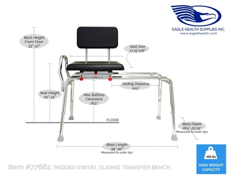 Sliding Transfer Bench With Padded Swivel Seat And Back