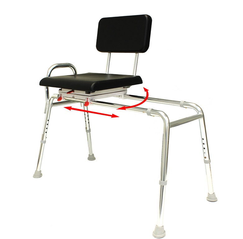 New! Sliding Transfer Bench with Padded Swivel Seat and Back : tub ...