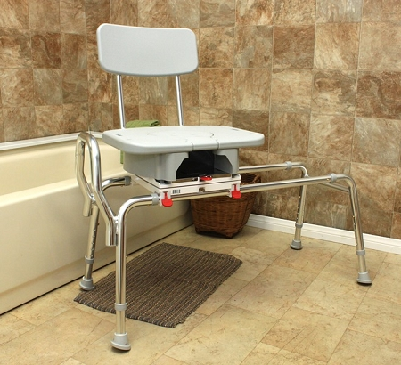 Snap-N-Save Sliding Transfer Bench with Cut-Out Swivel Seat :: Extra ...