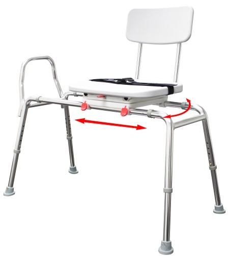Snap-N-Save Long Sliding Transfer Bench with Swivel Seat