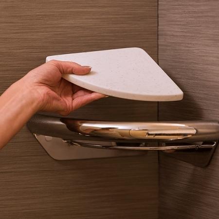 Corner Shelf Integrated with Invisia Shower Grab Bar : support rail