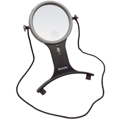 UltraOptix Hands Free LED Lighted Magnifier : neck magnifier for people with arthritis