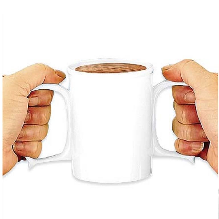 Granny Jo Dignity Mug : 2 handle mug for hot or cold beverages, offers a secure grip for people with arthritic hands
