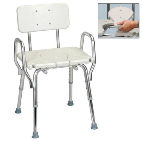 Shower Chair with Arms, Back and Replaceable Cut Out Seat