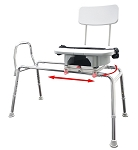 Long Sliding Transfer Bench with Replaceable Cut Out Swivel Seat