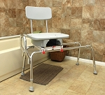 Sliding Transfer Bench with Cut-Out Swivel Seat :: Extra Long