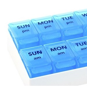 Push-to-Open 7 Day AM-PM Pill Organizer by Apex