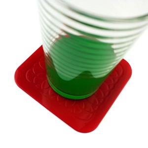 Tenura Square Coasters Red : Package of 4