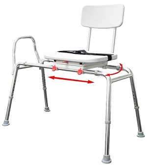 NEW! Snap-N-Save Extra Long Sliding Transfer Bench with Swivel Seat